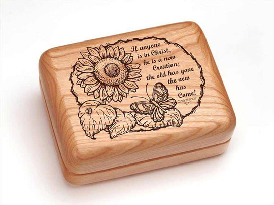 Top View of a Rectangular Ring Box with laser engraved image of Corinthians 5:17