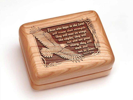 Top View of a Rectangular Ring Box with laser engraved image of Isaiah 40:31