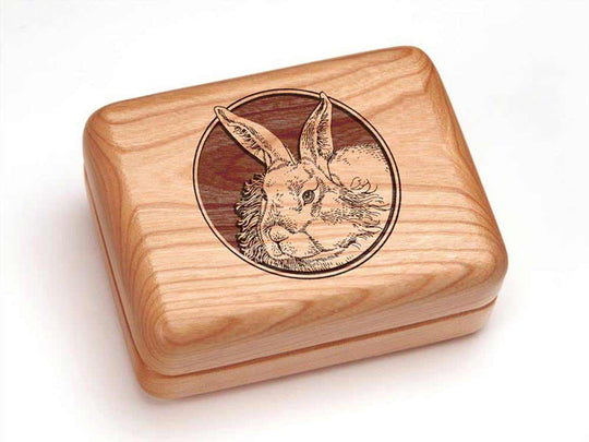 Top View of a Rectangular Ring Box with laser engraved image of Rabbit