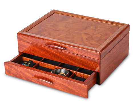 Angled View of a Prairie II Jewelry Box –1 Drawer Sapphire