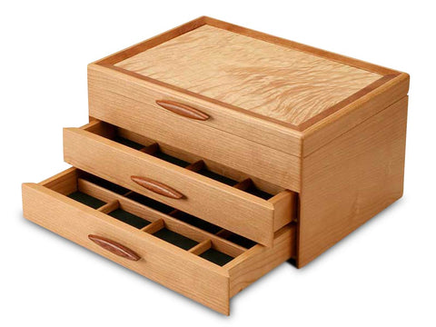 Angled View of a Cascade I Jewelry Box –2 Drawer Sapphire