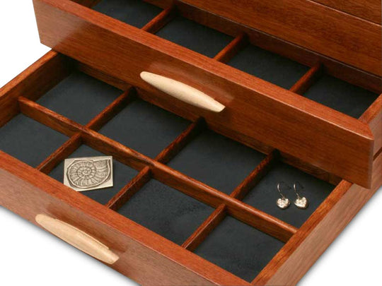 Sections View of a Cascade II Jewelry Box –2 Drawer Sapphire