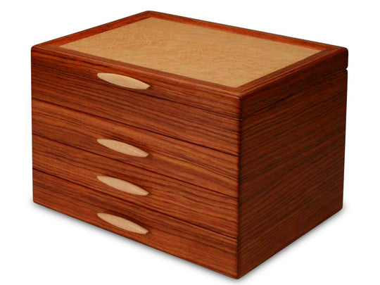 Angled View of a Cascade II Jewelry Box –3 Drawer Sapphire