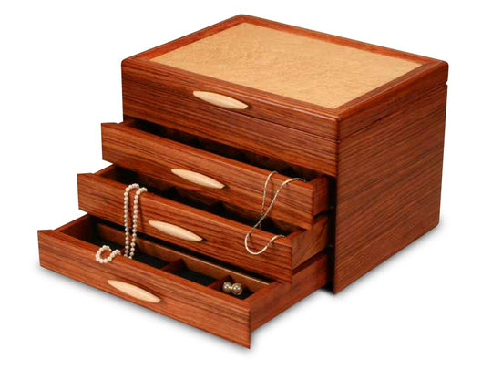 Drawer Open View of a Cascade II Jewelry Box –3 Drawer Sapphire