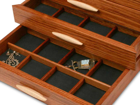 Sections View of a Cascade II Jewelry Box –3 Drawer Sapphire