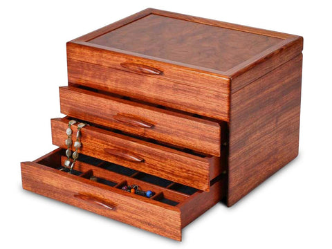 Angled View of a Prairie II Jewelry Box –3 Drawer Sapphire