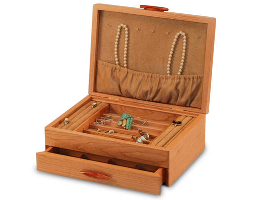 Open Top View of a Cascade I Jewelry Box –1 Drawer Pearl