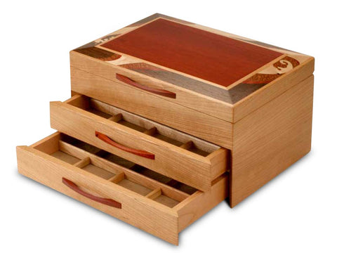 Angled View of a Wave Marquetry Jewelry Box –2 Drawer