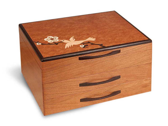 Angled View of a Hummingbird Jewelry Box –2 Drawer