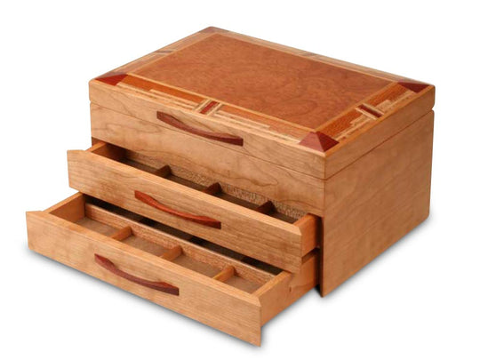Drawer Open View of a Mission Style Jewelry Box –2 Drawer