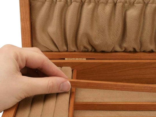 Divider View of a Mission Style Jewelry Box –2 Drawer