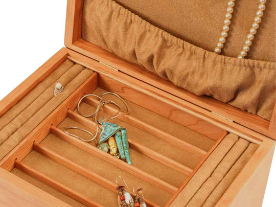 Open View Zoomed in of a Mission Style Jewelry Box –2 Drawer