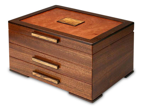 Angled View of a Urban Craftsman Jewelry Box –2 Drawer
