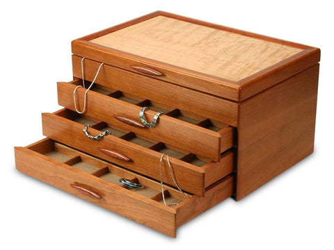 Angled View of a Grand Cascade I Jewelry Box –3 Drawer Pearl