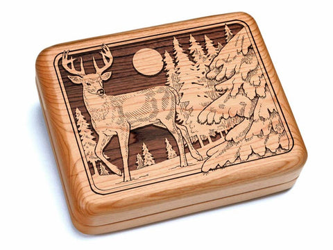 "Top View of a 6x5"" w/ Black & Burlwood Knife with laser engraved image of Deer"
