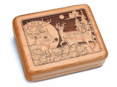 "Top View of a 6x5"" w/ Black & Burlwood Knife with laser engraved image of Deer/Bucks"