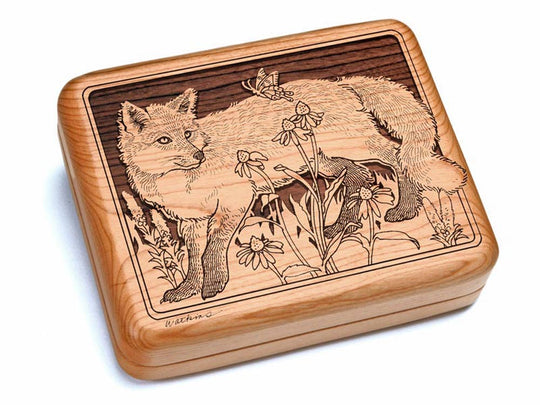 "Top View of a 6x5"" w/ Black & Burlwood Knife with laser engraved image of Fox & Flowers"