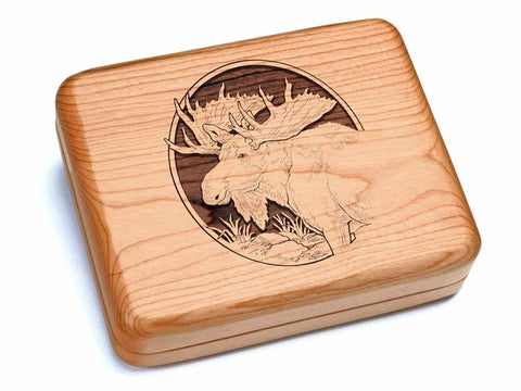 "Top View of a 6x5"" w/ Black & Burlwood Knife with laser engraved image of Moose Head"