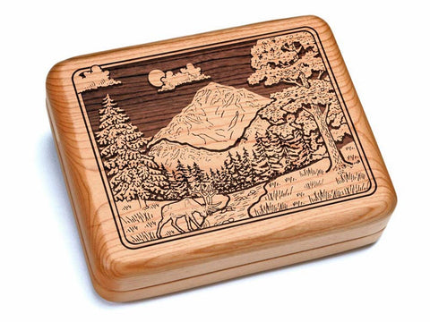 "Top View of a 6x5"" w/ Black & Burlwood Knife with laser engraved image of Mountain Scene"