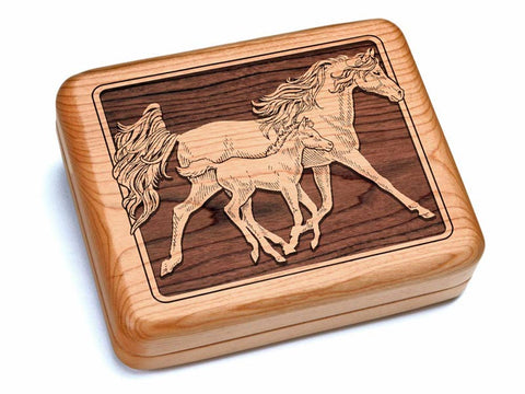 "Top View of a 6x5"" w/ Black & Burlwood Knife with laser engraved image of Mare & Foal"