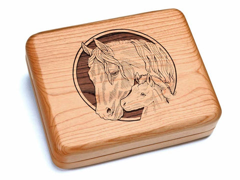 "Top View of a 6x5"" w/ Black & Burlwood Knife with laser engraved image of Horses"