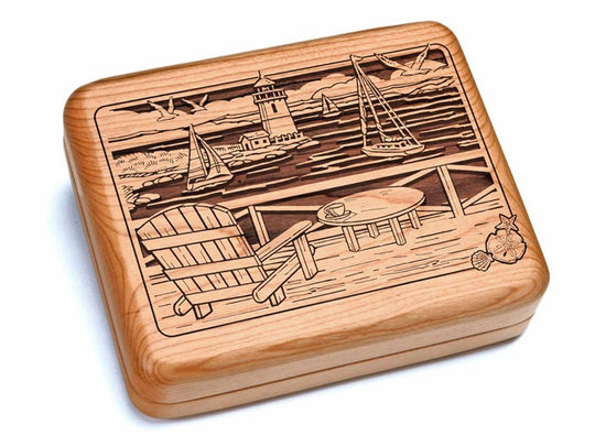 "Top View of a 6x5"" w/ Black & Burlwood Knife with laser engraved image of Seaside View"