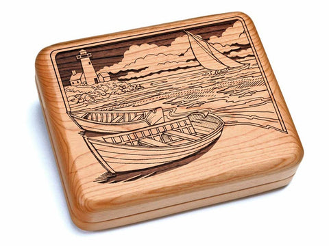 "Top View of a 6x5"" w/ Black & Burlwood Knife with laser engraved image of Two Rowboats"