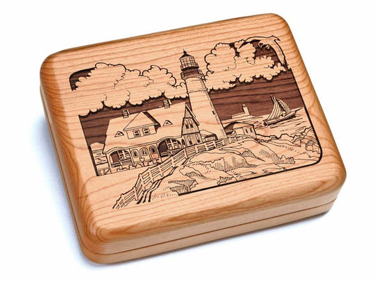"Top View of a 6x5"" w/ Black & Burlwood Knife with laser engraved image of Lighthouse"