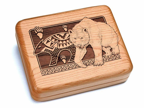 "Top View of a 6x5"" w/ Black & Burlwood Knife with laser engraved image of Petroglyphs Bear"
