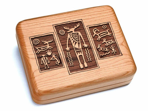 "Top View of a 6x5"" w/ Black & Burlwood Knife with laser engraved image of Petroglyph Triptych"