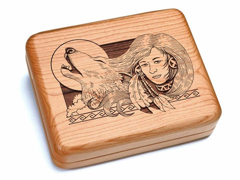 "Top View of a 6x5"" w/ Black & Burlwood Knife with laser engraved image of Wolf Maiden"