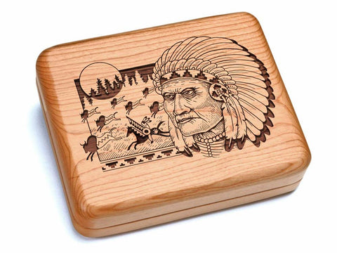 "Top View of a 6x5"" w/ Black & Burlwood Knife with laser engraved image of Indian & Buffalo"