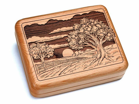 "Top View of a 6x5"" w/ Black & Burlwood Knife with laser engraved image of Sunset Field"