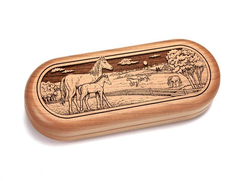"Top View of a 5x2"" w/ 2.5"" Canvasback Knife with laser engraved image of Horse Pasture"