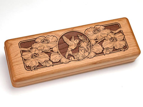 "Top View of a 10x4"" w/ Engraved Durango Knife with laser engraved image of Hummingbird & Dogwood Flowers"