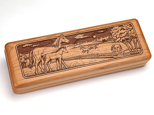 "Top View of a 10x4"" w/ Engraved Durango Knife with laser engraved image of Horse Pasture"