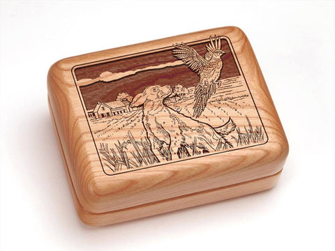 "Top View of a 4x3"" w/ Money Clip/Knife with laser engraved image of Dogs & Pheasant"