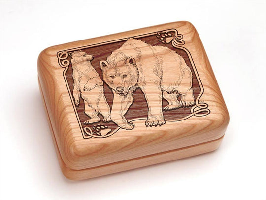 "Top View of a 4x3"" w/ Money Clip/Knife with laser engraved image of Bear/Paw"
