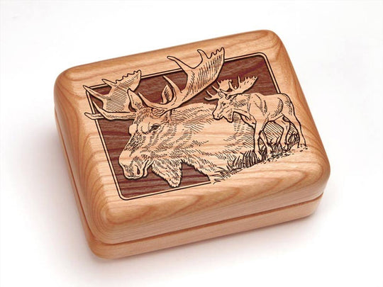 "Top View of a 4x3"" w/ Money Clip/Knife with laser engraved image of Moose"