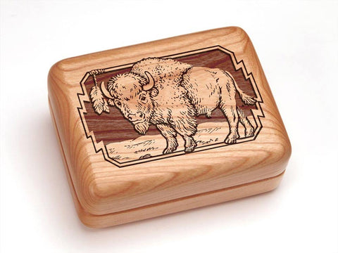 "Top View of a 4x3"" w/ Money Clip/Knife with laser engraved image of Bison"