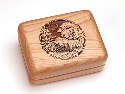 "Top View of a 4x3"" w/ Money Clip/Knife with laser engraved image of Mountain Scene"