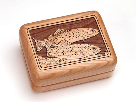 "Top View of a 4x3"" w/ Money Clip/Knife with laser engraved image of Two Trout"