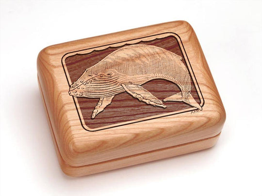 "Top View of a 4x3"" w/ Money Clip/Knife with laser engraved image of Humpback Whale"