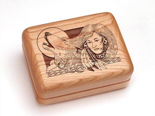 "Top View of a 4x3"" w/ Money Clip/Knife with laser engraved image of Wolf Maiden"