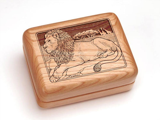 "Top View of a 4x3"" w/ Money Clip/Knife with laser engraved image of Lion"