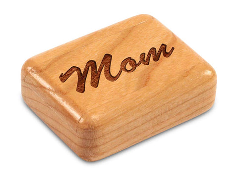 "Top View of a 2"" Flat Narrow Cherry with laser engraved image of Mom"