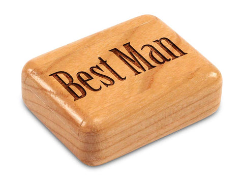"Top View of a 2"" Flat Narrow Cherry with laser engraved image of Best Man"