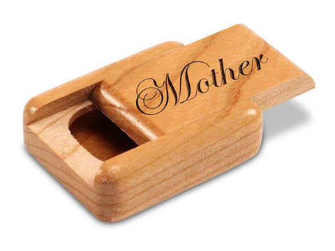 "Top View of a 2"" Flat Narrow Cherry with laser engraved image of Mother"