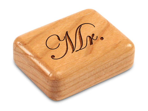 "Top View of a 2"" Flat Narrow Cherry with laser engraved image of Mr."