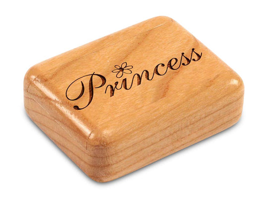 "Top View of a 2"" Flat Narrow Cherry with laser engraved image of Princess"